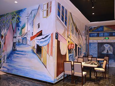 合肥市政务区华润万象城城港记茶餐厅全景壁画