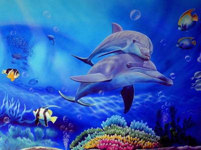 合肥政务区食肆海里海鲜自助餐厅3D海洋世界壁画
