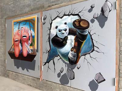 合肥新站区黉街文化小镇消防门3D画