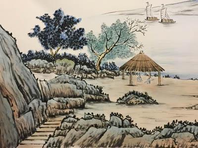 合肥市芜湖路农家小院过道主题国画